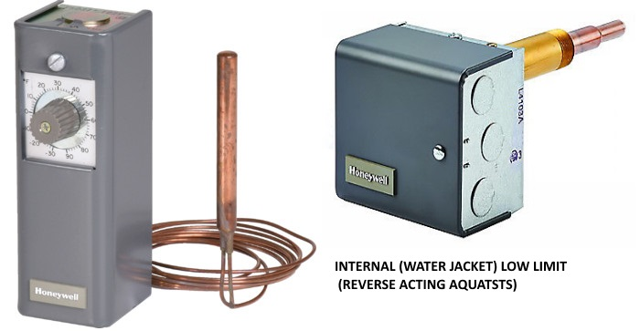 aquastats usede for hot water wood stove heating