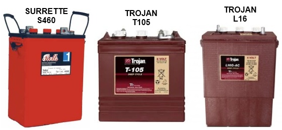 Trojan's T105 and L16, Surrette's S460 Batteries