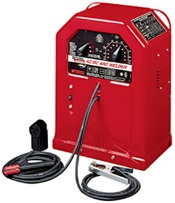 An arc welder uses high amperage low voltage DC to weld metals together.