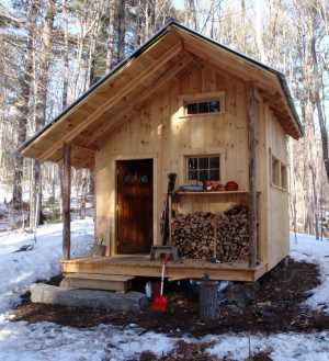 A cabin of this size might get by with a 12 volt battery system.